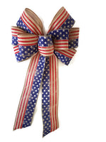 "10""  Wired Red, Natural and Blue Flag Bows GLORY BEE Natural"