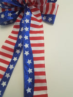"Large 9-10"" Handmade American Flag Bow - Patriotic July 4"