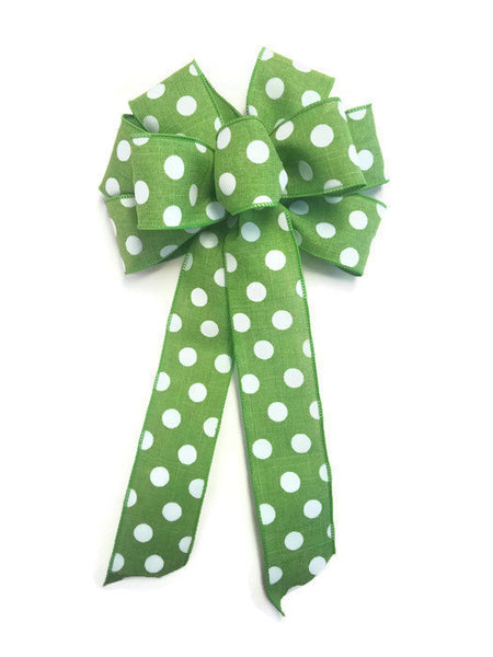 "Large 9-10"" Handmade Lime Green & White Polka Dot Bow"