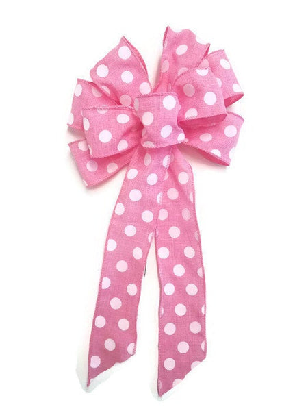 "Large 9-10"" Handmade Pink & White Polka Dot Bow"