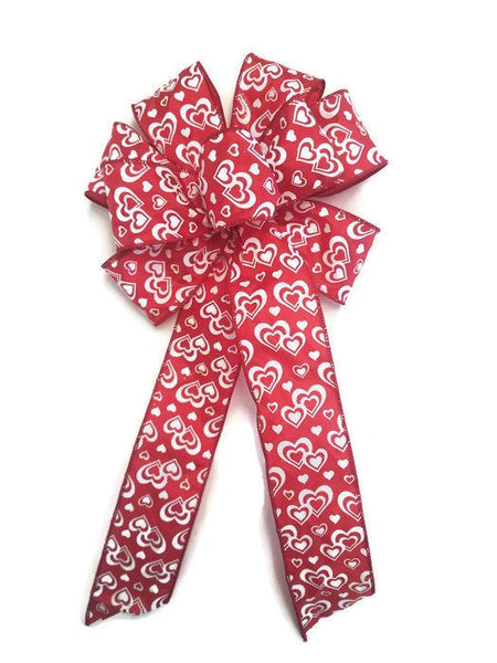 "Large 9-10"" Handmade Wired Red & White Hearts Bow Glitter Love Anniversary Valentine"
