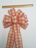 "Large 9-10"" Handmade Wired Red Orange Yellow Plaid Wreath Bow"