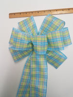 "Large 9-10"" Handmade Wired Blue Yellow Orange Plaid Wreath Bow"