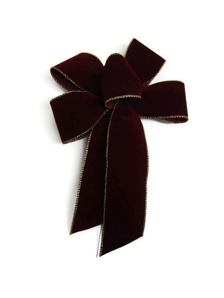 "Medium 7-8"" BURGUNDY with GOLD Wired Edge Velvet Christmas Bows - Indoor/Outdoor - Wreath Ribbons Holiday"