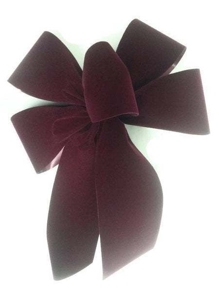 "Medium 7-8"" BURGUNDY Unwired Velvet Christmas Bows - Indoor/Outdoor - Wreath Ribbons Holiday - Bow"