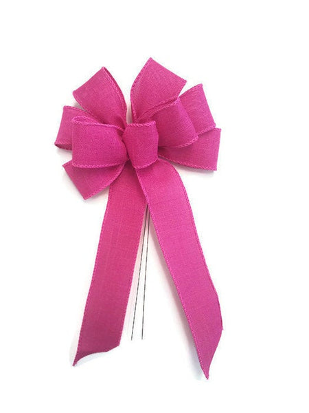 "Small 5-6"" Wired Bright Fuchsia Pink Linen Bow"