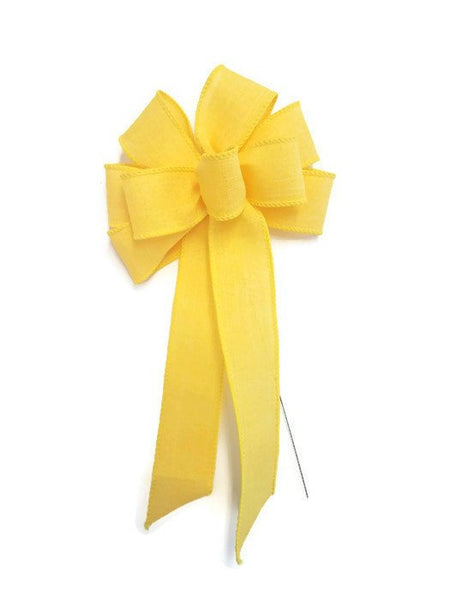 "Small 5-6"" Wired Bright Yellow Linen Bow"