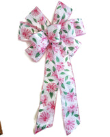 "Large 9-10"" Wired Pink Daisy Spring Bow"