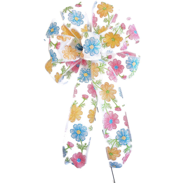 "Small 5-6"" Pink, Yellow & Blue Daisy Bow"