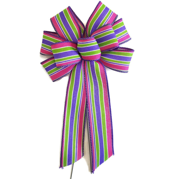 "Small 5-6"" Pink, Purple & Lime Green Bow"