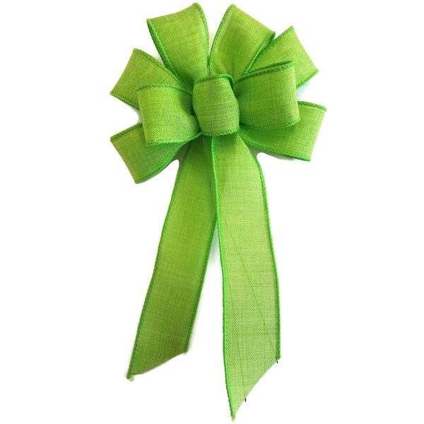 "Small 5-6"" Wired Lime Green Linen Bow"