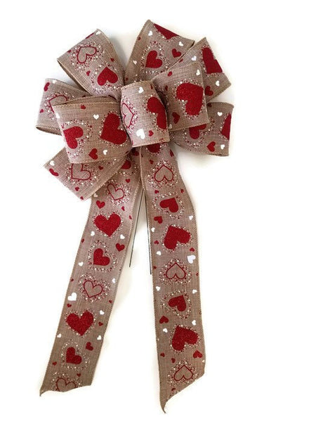 "Large 10"" Hand Made Wired Red And White Valentine's Day Bows HARTLEY  Natural"