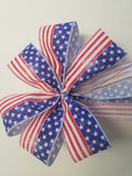 "Large 9-10"" Handmade American Flag Patriotic Bow"