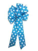 "Large 9-10"" Handmade Sky Blue & White Polka Dot Bow Aqua"