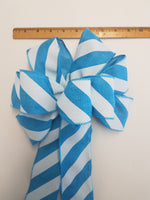 "Large 9-10"" Handmade Sky Blue & White Diagonal Stripe Bow Aqua"