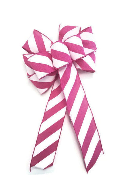 "Large 9-10"" Handmade Azalea Pink & White Diagonal Stripe Bow Bright Pink"