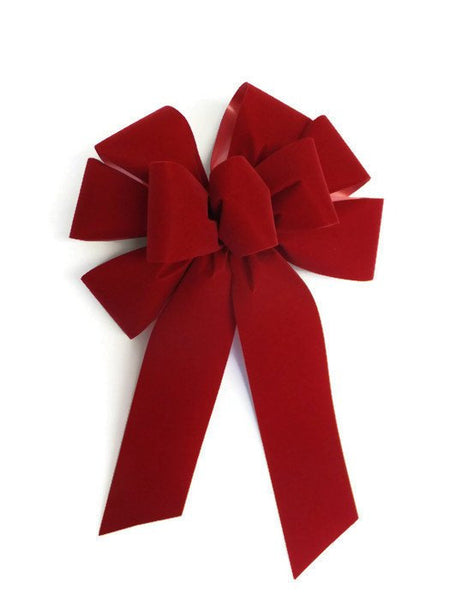 "Large 10"" Brick Red Velvet UNWIRED Christmas Bows - Indoor/Outdoor - Wreath Ribbons Holiday - Bow"