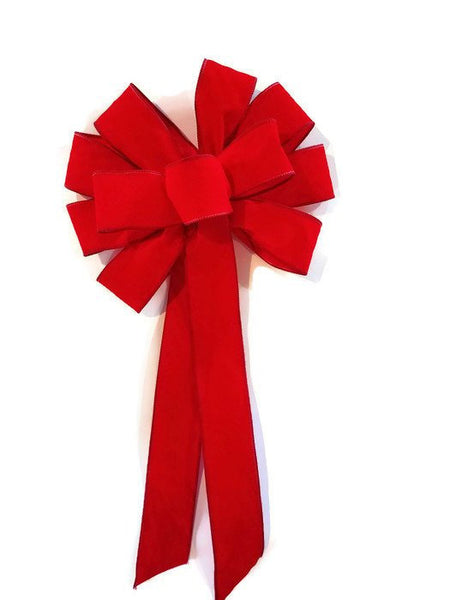 "12"" WIRED RED XL Velvet Christmas Bows - Indoor/Outdoor - Wreath Ribbons Holiday"
