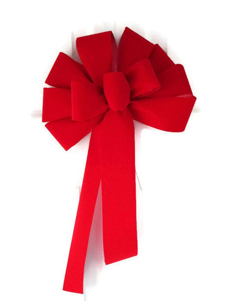 "12"" Red Velvet UNWIRED Christmas Bows - Indoor/Outdoor - Wreath Ribbons Holiday"