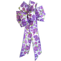"Large 10"" Wired Purple Daisy Bow"