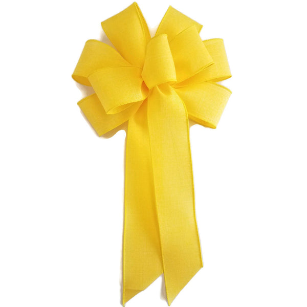 "Large 9-10"" Wired Yellow Linen Bow"