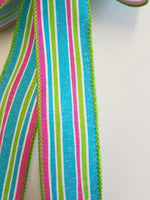 "Small 5-6"" Pink, Green & Aqua Striped Bow"