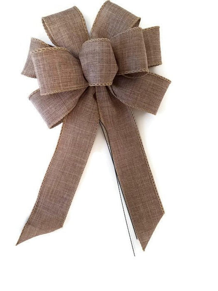 "Small Wired 5-6"" Natural Linen Bows"