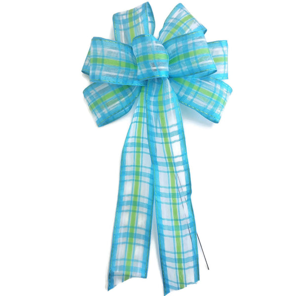 "Small 5-6"" Lime Green & Aqua Blue Stripe Bow"