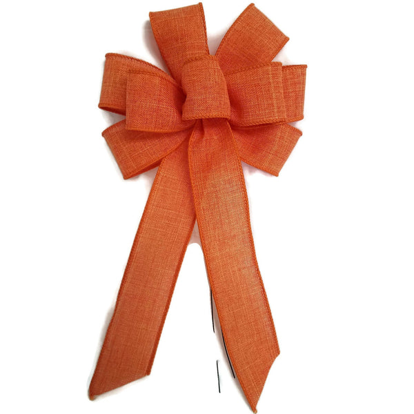 "Small 5-6"" Orange Linen Wired Bow"