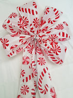 "10"" Large Candy Cane & Peppermint Wired Christmas Bow"