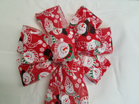 "10"" Large Snowman Wired Christmas Bow"