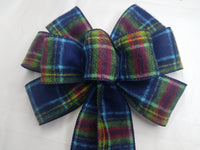 "10"" Large Blue and Red Flannel Plaid Wired Christmas Bow"