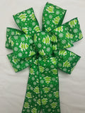 "10"" Large Green Tree and Snowflake Wired Christmas Bow"
