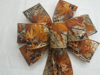 "Large 10"" Hand Made Wired Orange and Brown Camo Autumn Bow"