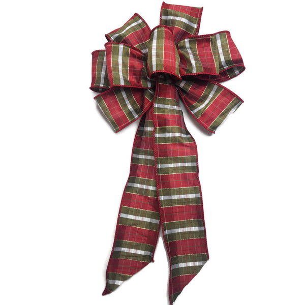 "10"" Large Red, Green and Gold Striped Wired Christmas Bow"