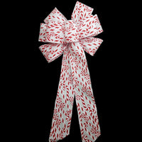 "10"" Large Candy Cane & Peppermint Candies Wired Christmas Bow"