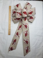 "10"" Red Cardinal on Natural Ribbon Wired Christmas Wreath Bow"