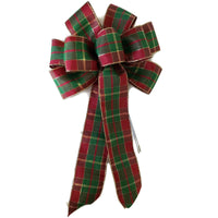 "10"" Red, Green and Gold Plaid Christmas Bow - Wreath Ribbons Holiday"