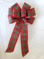 "10"" Red, Gold and Green Plaid Christmas Bow - Wreath Ribbons Holiday"