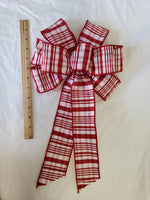"Large 10"" Red and White Plaid Christmas Bow"