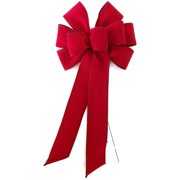 "SMALL 5-6"" Wired BRIGHT Red Velvet Christmas Bow - Indoor/Outdoor"