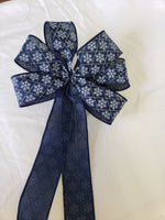 "Large 9-10"" Navy Blue and White Snowflake Wired Christmas Bow"