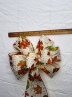 "Large 9-10"" Orange Leaf Wired Wreath Bow"