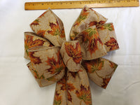 "Large 9-10"" Orange Glittered Leaf Bow"