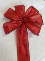 "Large 9-10"" Metallic Red Wired Christmas Bow"