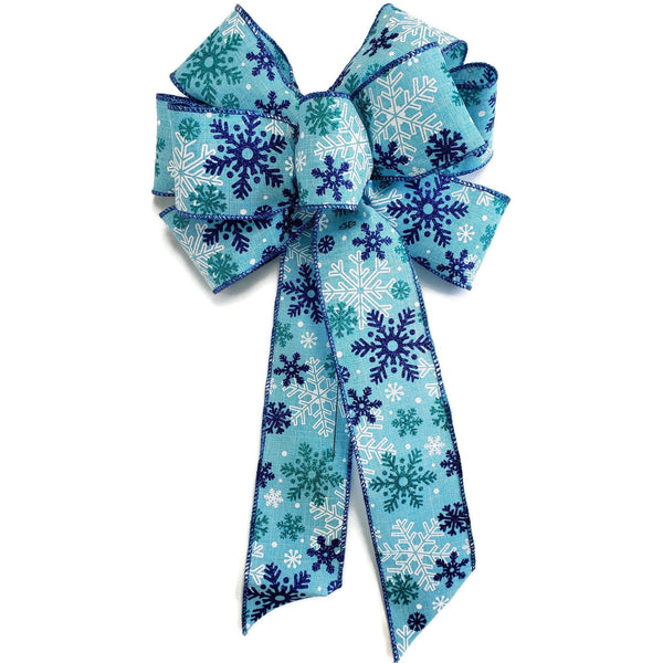 "Large 9-10"" Blue and Aqua Snowflake Wired Christmas Bow"