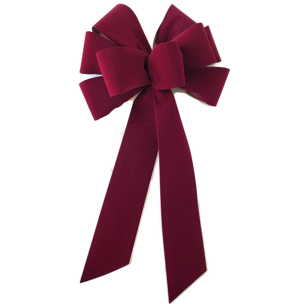 "10"" Burgundy Unwired Velvet Christmas Bow - Indoor/Outdoor - Wreath Ribbons Holiday Deep Red"