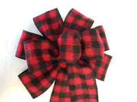 "Large 9-10"" Hand Made Red & Black Flannel Buffalo Plaid Christmas Bow"