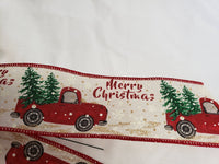 "Large 9-10"" Antique Truck & Trees Wired Christmas Bow"
