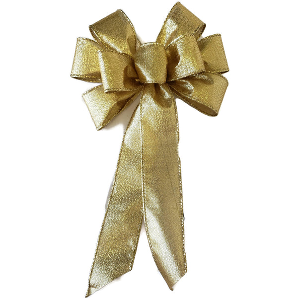 "Large 9-10"" Metallic Gold Wired Christmas Bow"